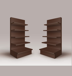 Set of brown trade stands with shelves storefronts vector
