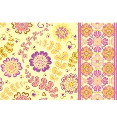 Set of flowers seamless pattern and border vector