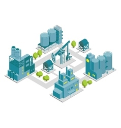 Set of isometric factory oil vector image