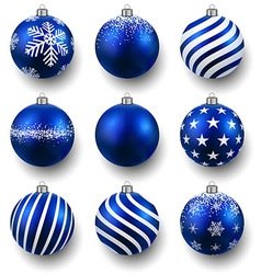 Set of realistic blue christmas balls vector