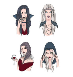Set of various vampire girl woman with fangs and vector