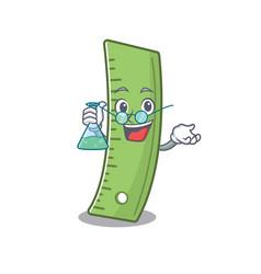 Smart professor ruler cartoon character with vector
