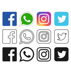Social media icon for facebook whatsapp vector