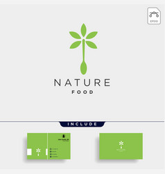 spoon nature food equipment simple flat logo vector image