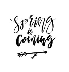 spring is coming - hand drawn inspiration quote vector image