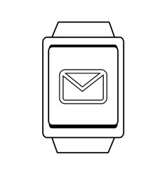 Square watch and mail icon graphic vector