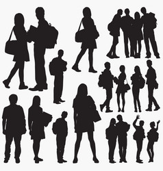 Student silhouettes vector