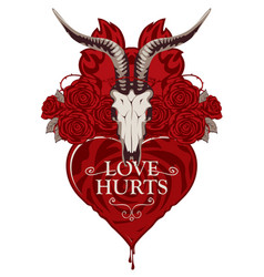 T-shirt design on the theme of love hurts vector