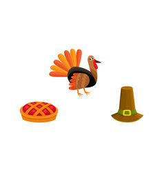 Thanksgiving set - turkey pie and pilgrim hat vector