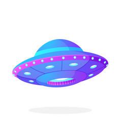 ultra violet ufo space ship in flat style vector image