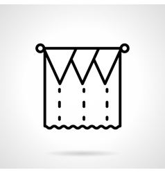 Unusual curtains black line icon vector image