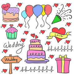 various element wedding party in doodles vector image