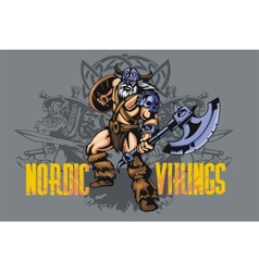 Viking warrior with big axe vector