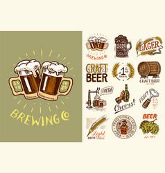 vintage beer posters cheers toast set of vector image