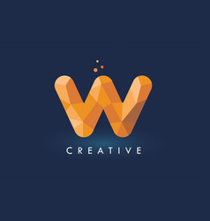 w letter with origami triangles logo creative vector image