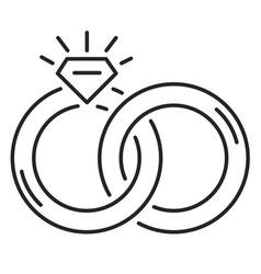 Wedding rings thin line icon vector