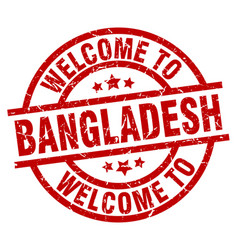welcome to bangladesh red stamp vector image
