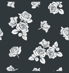 white roses on black background seamless pattern vector image