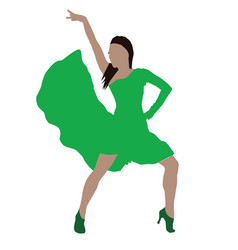 woman in green dress with dance posture vector image