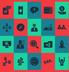 Work icons set with deadline shared folder team vector
