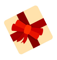 yellow gift box icon flat style vector image