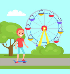 Young skater boy with skateboard at amusement park vector