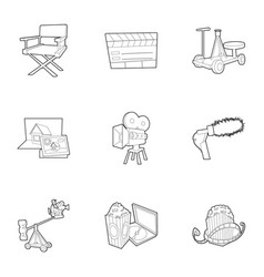 filming location icons set outline style vector image vector image