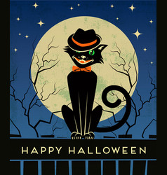 Halloween black cat and full moon vector