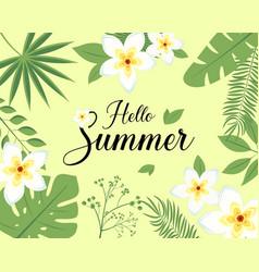 hello summer realistic leaf flower frangipani vector image vector image