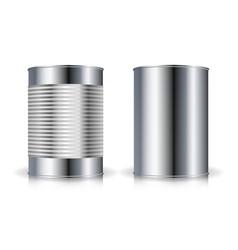 metallic cans set metal tin can set vector image