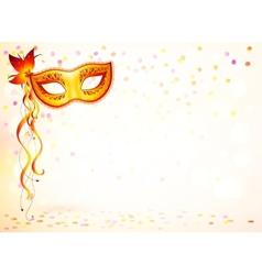 Orange carnival mask on pink bokeh light vector image vector image