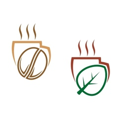 Two cups of steaming beverages vector image vector image