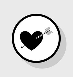 arrow heart sign flat black icon in white vector image