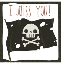 I miss you funny halloween card vector image
