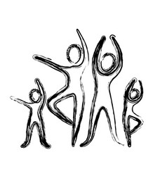 sketch of pictogram with practice of ballet poses vector image