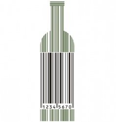 wine bottle and barcode vector image