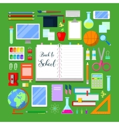 Back to School Background with Education Icon Set vector image vector image