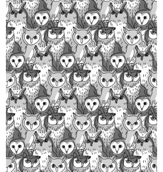 Group owl gray scale seamless pattern vector image vector image