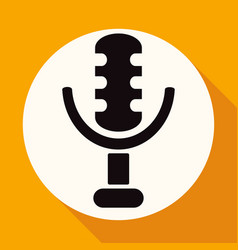 microphone icon on white circle with a long shadow vector image