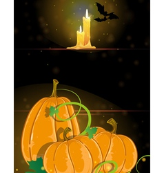 Pumpkins and burning candles vector image