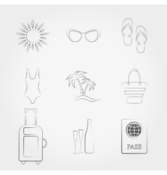 Summer travel and vacation icons set vector image