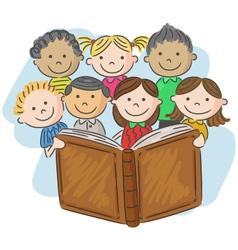 Cartoon little kid reading book vector