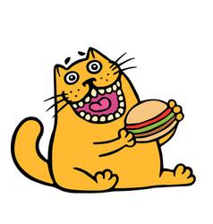 cartoon orange cat is eating a hamburger isolated vector image vector image