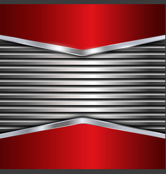 Silver and red metallic background vector image vector image