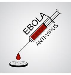 Syringe ebola anti virus with drop into petri dish vector