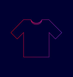 t-shirt sign line icon with vector image