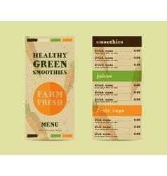 Vegetable smoothie menu concept Fresh vector image vector image
