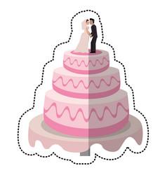 wedding cake couple dessert vector image vector image
