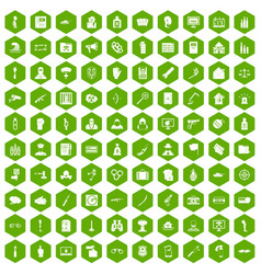 100 violation icons hexagon green vector