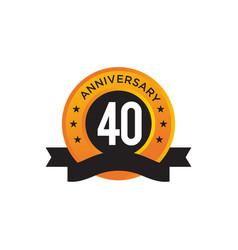 40th year anniversary emblem logo design template vector image